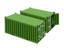 2 зеленых грузового контейнера на белой предпосылке Стоковое фото RF
