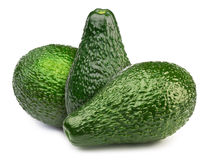 3 зеленых изолированного авокадоа Стоковые Фотографии RF