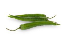 3 зеленых изолированного перца горячих chili Стоковые Фотографии RF