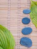 2 зеленых листь и 4 серых камня на бамбуковой циновке Стоковая Фотография RF