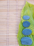 2 зеленых листь и 4 серых камня на бамбуковой циновке Стоковые Фотографии RF