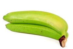 2 зеленых незрелых банана изолированного на белой предпосылке Стоковая Фотография