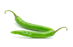 2 зеленых перца chili Стоковая Фотография RF