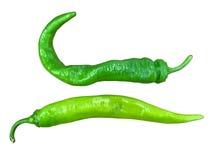 2 зеленых пряных перца на белой предпосылке Стоковые Фотографии RF