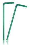 2 зеленых соломы изолированной на белизне Стоковое Изображение RF