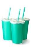 3 зеленых чашки картона с соломы Стоковая Фотография RF