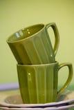 2 зеленых чашки Стоковая Фотография