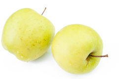 2 зеленых яблока, изолированного на белой предпосылке Стоковые Фотографии RF