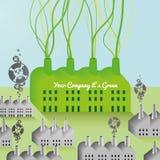 Зелен Компания и предпосылка фабрики абстрактная иллюстрация вектора