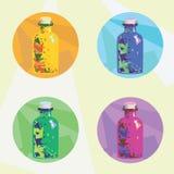 Зелье красочных значков волшебное Стоковое Изображение