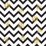 зигзаг картины безшовный с кругами и треугольниками золота Безшовная предпосылка с горизонтальными черными нашивками в зигзаге Стоковая Фотография RF