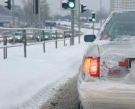 зима автомобиля driwing Стоковые Изображения RF