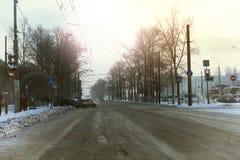 Зима автомобиля города дороги Стоковые Изображения