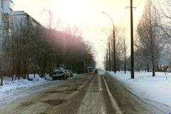 Зима автомобиля города дороги Стоковые Фотографии RF
