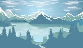 Зима ландшафта озера Стоковые Изображения RF