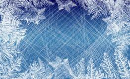 зима белизны снежинок предпосылки голубая Вектор предпосылки льда с метками от кататься на коньках и хоккея Стоковые Изображения RF