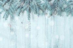 зима белизны снежинок предпосылки голубая Голубые ветви ели с снежинками зимы на деревянной предпосылке Стоковые Изображения RF