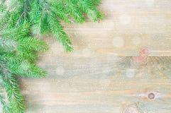 зима белизны снежинок предпосылки голубая Зеленые ветви ели с снежинками зимы на деревянной предпосылке Стоковые Фотографии RF