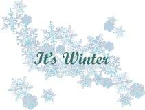 зима белизны снежинок предпосылки голубая ШРИФТ И СНЕГ ЗИМЫ иллюстрация вектора