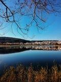 зима валов снежка неба лож заморозка мрачного дня ветвей сини стоковая фотография rf