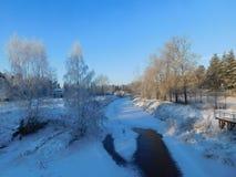 зима валов снежка неба лож заморозка мрачного дня ветвей сини Стоковые Фото
