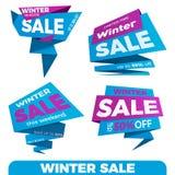 зима вектора текста сбывания предпосылки Стикер шаблона значка знамени ценника ярлыка продажи Стоковые Изображения