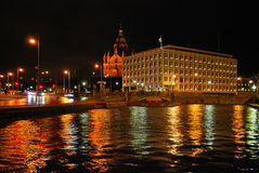 зима взгляда ночи helsinki Стоковое Изображение