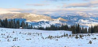 зима восхода солнца горы ландшафта Стоковая Фотография RF