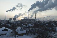 зима восходящего потока теплого воздуха захода солнца станции дыма неба Стоковые Изображения RF