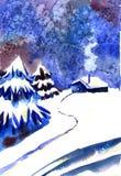 зима времени снежка цветка Предпосылка ночи акварели иллюстрация штока