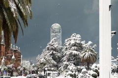 Зима в городке стоковая фотография rf