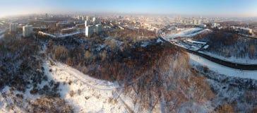 Зима в городе Киева, вид с воздуха Стоковые Изображения