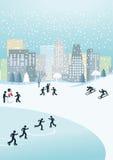 Зима в городе Стоковое Изображение RF