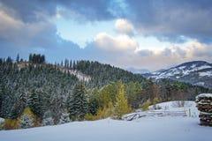 Зима в деревне Pestera, национальном парке Piatra Craiului, Brasov, Румынии стоковые изображения rf