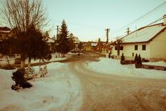 Зима в деревне Transylvanian стоковое изображение