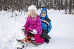 Зима в древесинах мальчик и девушка сидя на скелетоне стоковое изображение