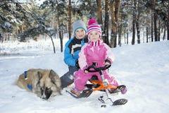 Зима в древесинах на скелетоне, и дети сидят рядом с стоковая фотография rf