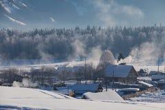 Зима в русском селе Стоковые Фото