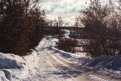 Зима в русском селе Стоковые Изображения