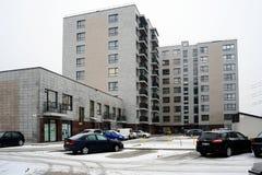 Зима в столице района Pasilaiciai города Литвы Вильнюса Стоковая Фотография
