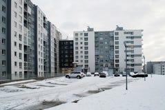 Зима в столице района Pasilaiciai города Литвы Вильнюса Стоковые Изображения