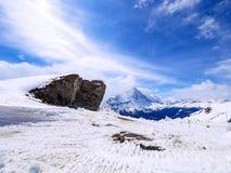 Зима в Швейцарии, горный вид в Швейцарии Стоковое Фото