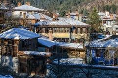Зима в Koprivshtitsa, Болгарии стоковые фотографии rf