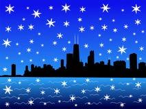 зима горизонта chicago Стоковое Изображение