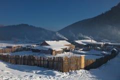 зима горного села Стоковые Фото