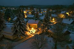 зима городка ночи стоковое фото