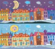 зима городка знамени Стоковые Изображения