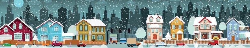 Зима городской жизни иллюстрация штока