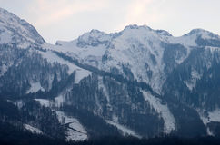 зима гор gudauri caucasus Georgia большие горы горы ландшафта Стоковое Изображение