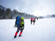 зима гор hiker Стоковое Изображение